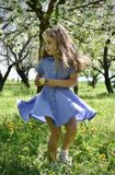 Dress RETRO linen cornflower