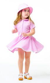 Dress RETRO linen pink